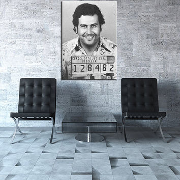 Large size Printing Oil Painting Pablo Escobar Mug Shot 1991 Vertical  Wall pain