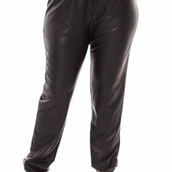Faux Leather Joggers