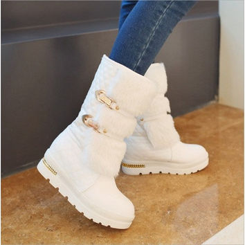 Fashion metal fasteners low-soled boots snow boots with big yards in fur boots wedges boots [8834071756]