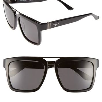 Men's Salvatore Ferragamo 'Gancino Hinge' Aviator Sunglasses - Black/ Dark Grey