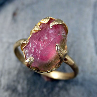 Raw Rough Uncut Watermelon Tourmaline Gold Ring Bi Color Ring green Pink Gemstone Crystal 14k recycled by Angeline