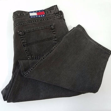 Tommy Hilfiger Freedom Jeans Faded Black Measure 42 x 29 Flag Logo Baggy Men's Jeans 1990s Vintage Fashion