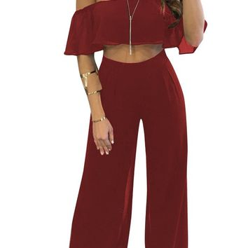 Wine Red Off Shoulder Ruffle Crop Top and Loose Chiffon Pants