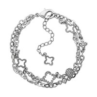 Marie Claire Jewelry Crystal Silver Tone Clover Multistrand Bracelet (Grey)