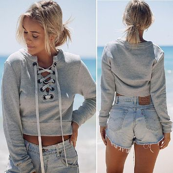 Women Sexy Slit Lacing Pullover Jumper Hoody Long Sleeve Crop Top Blouse Sweatshirt
