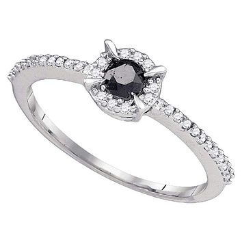 10kt White Gold Women's Round Black Color Enhanced Diamond Solitaire Bridal Wedding Engagement Ring 3/8 Cttw - FREE Shipping (USA/CAN)