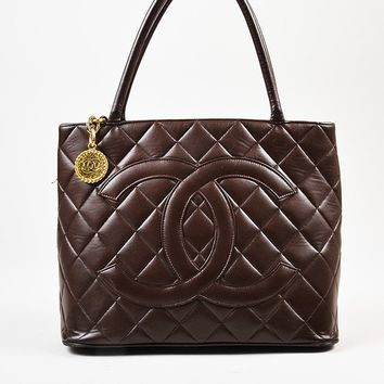 "Chanel Brown Lambskin 'CC' Quilted ""Medallion"" Tote Bag"