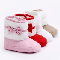 Baby Girl Bow Fleece Soft Soled Booties 0-18 Months - 4 Colors