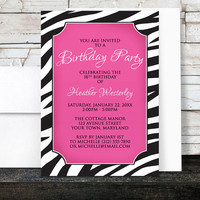Birthday Party Invitations - Zebra Print Chic Pink - Hot Pink and Animal Print - Printed Invitations