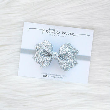 Silver Glitter Bow // 3 sizes // headband or clip