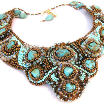 Turquoise StunnerBead Embroidery Bib by colorsoulartistry on Etsy