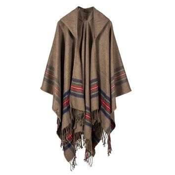 Women Blanket Shawl Wrap Open Poncho Cape with Hat Winter Striped Scarf