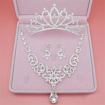 2017 New 3PCS Bridal Jewelry Set(Crown,Necklace,Earrings) Fashion Bling Bling Alloy Crystal For Women Wedding Accessory With Box