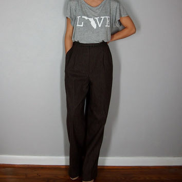 Vintage Wool Pants, Wool Striped Pants, High Waist Dress Pants, Brown Pants, LARGE, MEDIUM