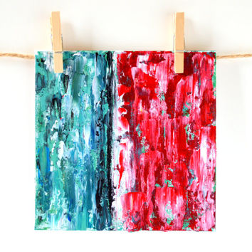 Original Acrylic Abstract, Fine Art Card, Modern Painting, Pallet Knife Art, Teal and Red Gift Idea