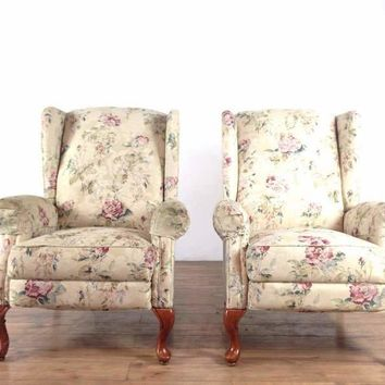 Pair of Floral Upholstered Reclining Wingback Armchairs