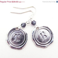 Spring SALE Personalized  Earrings,  Initial, Monogrammed,Antique Silver Earrings, Swarovski Crystals.