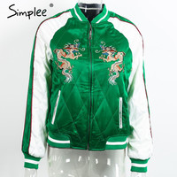 Autumn padded satin embroidery bomber jacket coat winter jacket women Casual green black basic baseball jacket