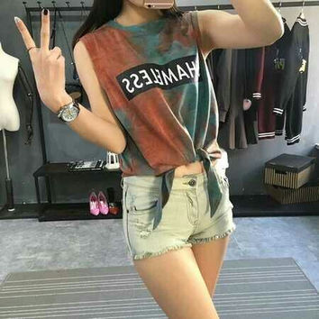 SHAMELESS Printed Crop Tee T Shirt