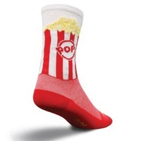 SockGuy Men's Pop Corn Crew Sock, Red, Small/Medium