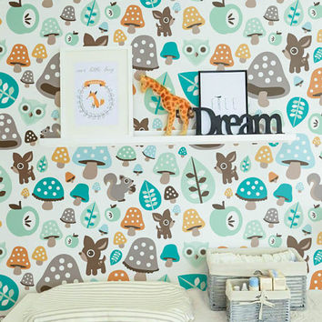 Wonder forest Self adhesive kids room wallpaper - PEEL and STICK vinyl Nursery wallpaper - OLB_040