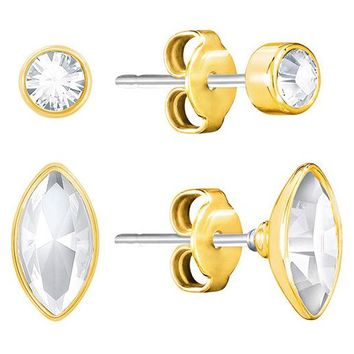 Swarovski Clear Crystal Pair of Stud Pierced Earrings HARLEY Yellow Gold #5188424