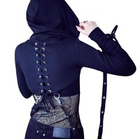 Black Short Hoodies Womens Cross Bandage Metal Hooded Pullover Sweatshirts Pastel Gothic Fashion Goth Beauty Tops For Girl