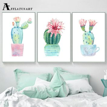 Watercolor Potted Cactus Wall Art Canvas Painting Posters And Prints Nordic Poster Wall Pictures For Living Room Quadro Decor