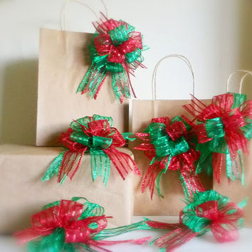 Red and Green Christmas Gift Bow Set-Gift Wrap-Gift Topper-Gift Wrap Bows-Christmas Tree Ornaments-Wreath Bows