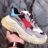 Balenciaga Fashion Women Men Leisure Contrast Color Sport Running Shoe Lovers Sneakers Grey Red Black Blue I