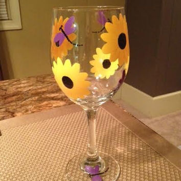 Sunflower and Dragonfly hand-painted wine glass