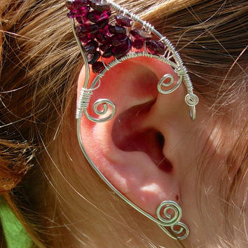 Pair of Silver with Genuine Garnet Chips Elf Ear Cuffs, Renaissance, Elven, Hobbit, Elf, Fantasy Ear Wraps