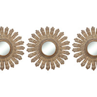 Mirrors, Sunburst Accent Mirror Set, Gold, Small Accent Mirrors