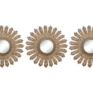 Mirrors sunburst accent mirror set from one kings lane for Small gold mirror