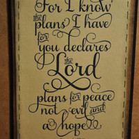 "Jeremiah 29:11 ""For I know the plans I have for you declares the Lord.."" homemade card"