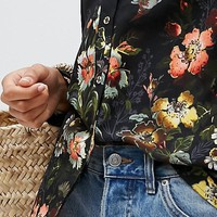 Oasis Rose Print Shirt at asos.com
