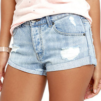 Amuse Society Crossroads Light Wash Distressed Denim Shorts
