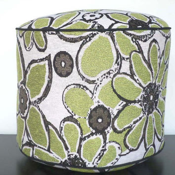 "Green pouf ottoman with flowers and leaves, round 18"" ottoman in black beige brown green, boho floor cushion for women"