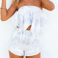 White Contrast Vintage Print Top and Highwaist Shorts