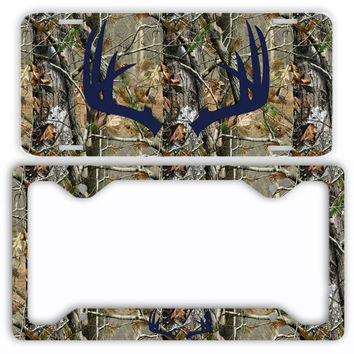 Navy Antlers Camo Deer License Plate Frame Car Tag Country Hunting
