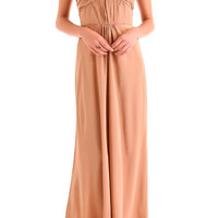 Peach Prom  Dress, Princess V-neck Floor-length Chiffon Prom Dress