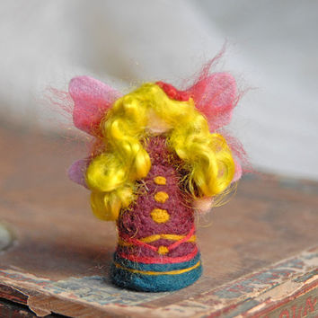 Purple Waldorf Fairy, Needle Felted Fairy, Tiny Fairy