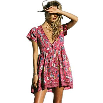 Boho Dress Red Floral Print Mini Dress V-Neck Short Seeve Women Dresses 2017 New Summer Loose Style Bohemia Beach Dresses