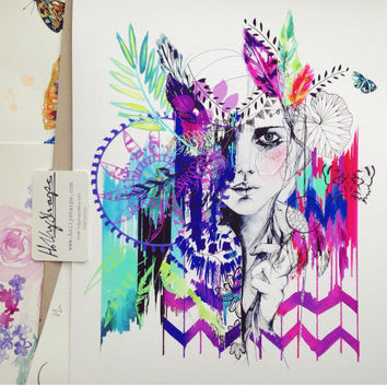 Tribal Girl - Mardi Gras edition // LIMITED EDITION Giclée print - fashion illustration by Holly Sharpe