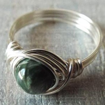 Seraphinite Ring, Mother's Day Gift, Green Stone Ring, Heart Chakra Jewelry, Wire Wrapped Ring, Cute Ring, Angel Feather Ring, Get Well Gift