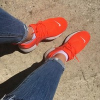 NIKE PRESTO Women Fashion Running Sport Casual Shoes Sneakers orange H 8-3