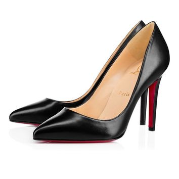 Christian Louboutin Cl Pigalle Black Leather 100mm Stiletto Heel