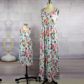 Floral matching mom and daughter dress