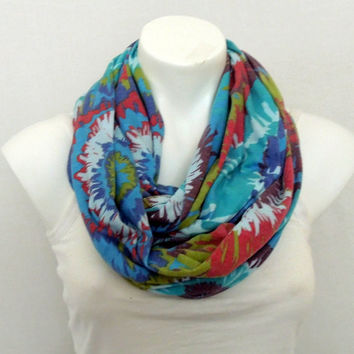 Teal Flower Infinity Scarf, Loop Scarf, Teen, Women Fashion