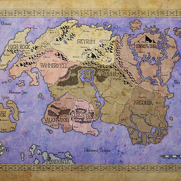 'Elders Scrolls map in Ink - COLOR' Poster by dvg94